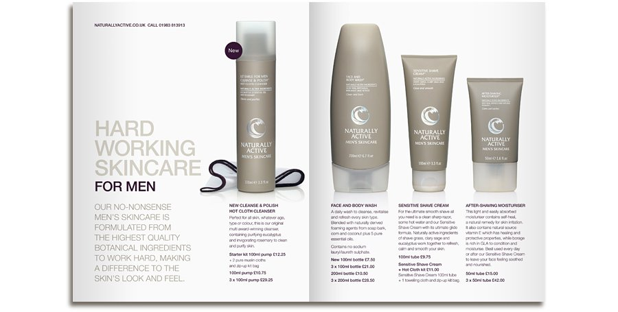 Liz Earle Mens product brochure spread