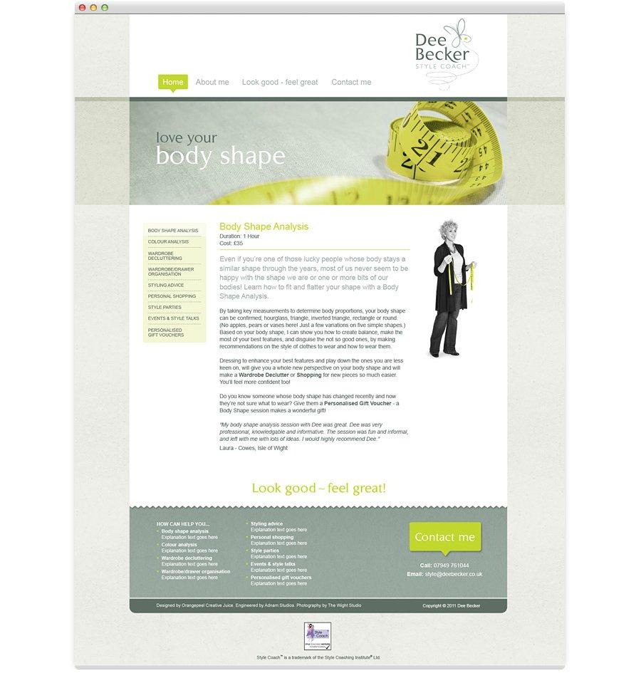 Dee Becker Style Coach Website Design body shape