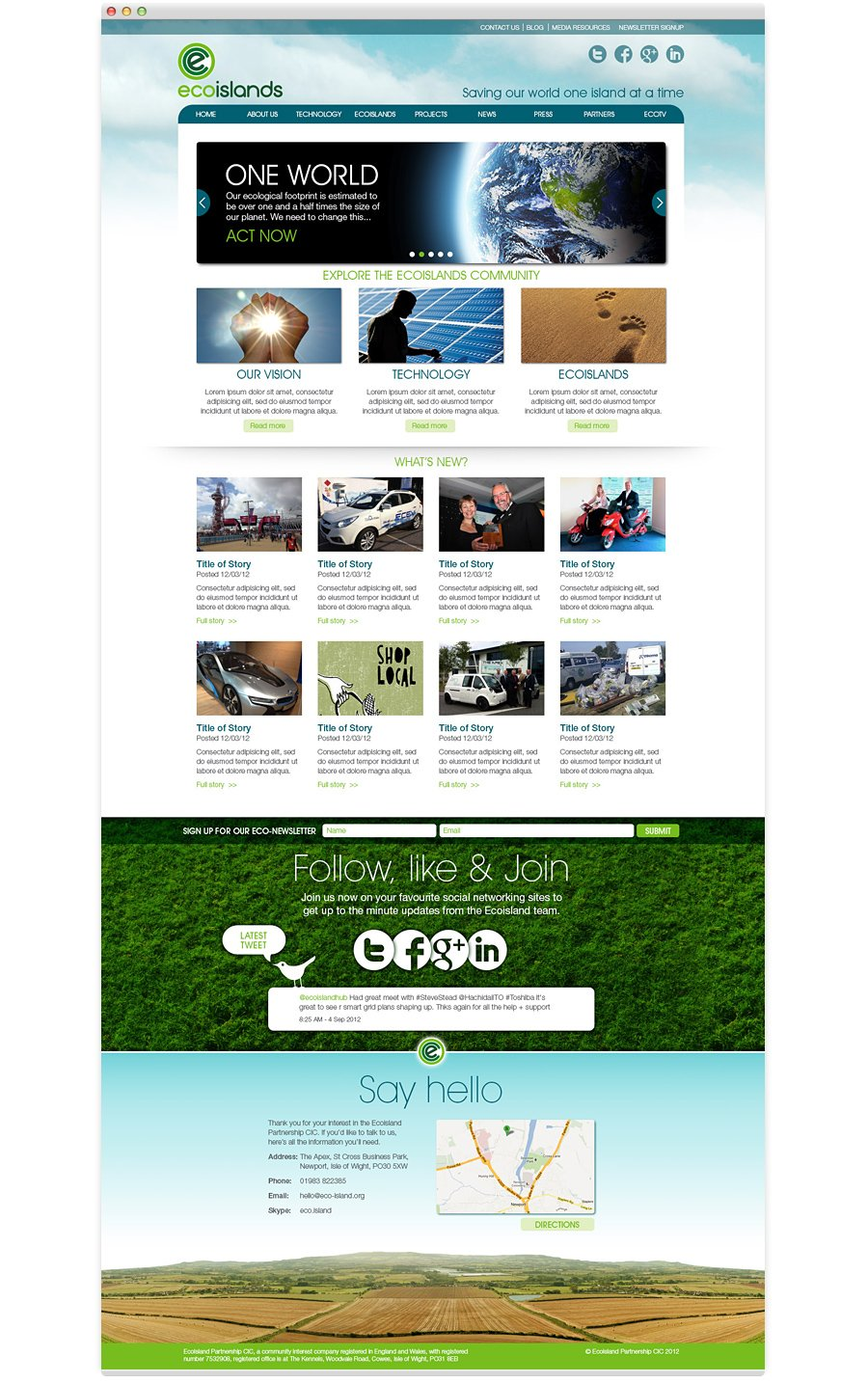 Ecoisland Website Design isle of wight home page