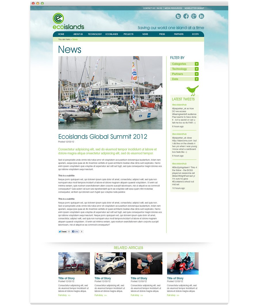 Ecoisland Website Design isle of wight news page