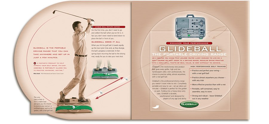 Glideball The Portable Driving Range Product Launch Mailer open
