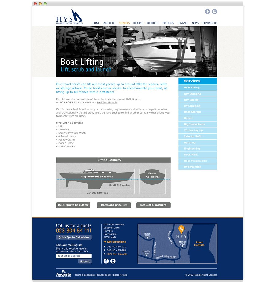 Hamble Yacht Services Website Design boat lift service