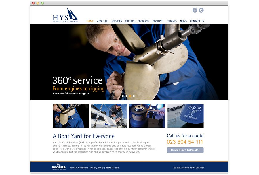 Hamble Yacht Services Website Design home engineering banner