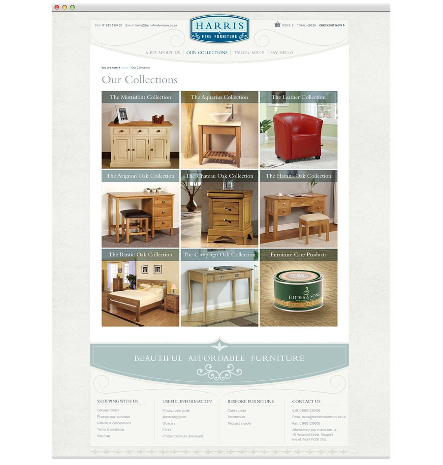 Harris Fine Furniture website collections menu