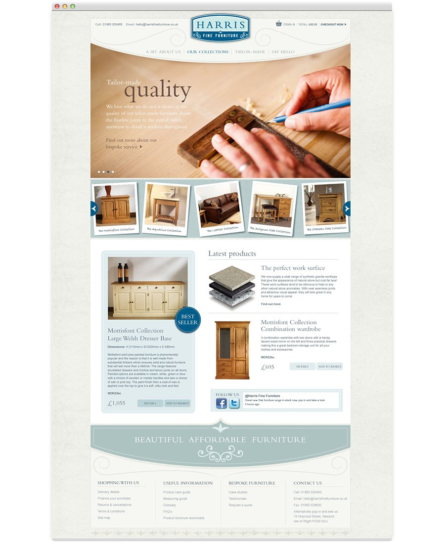 Harris Fine Furniture website home page tailor made crafted