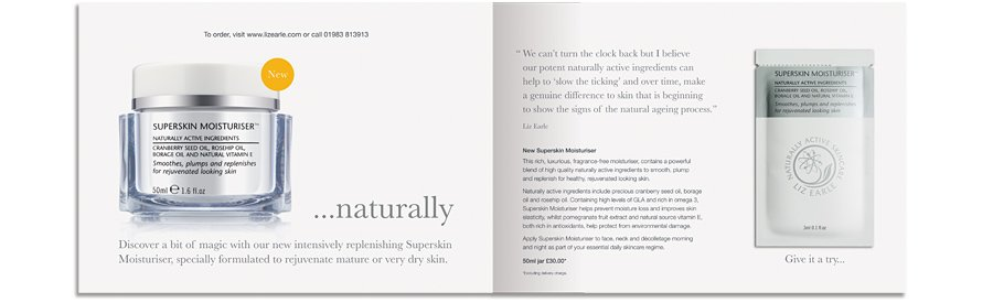 Liz Earle Superskin Moisturiser Launch mailer naturally spread