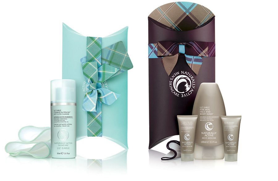 Liz Earle Naturally Active Skincare Christmas tartan boxes