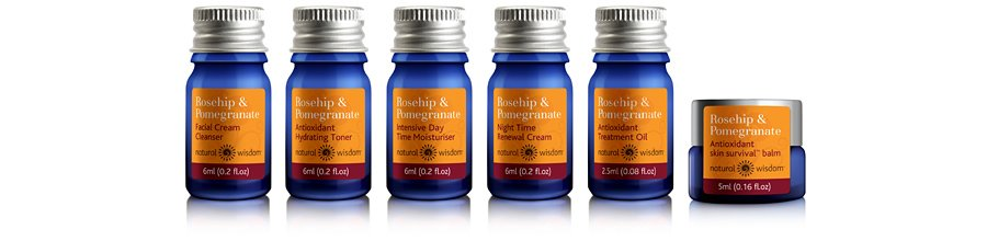 Natural Wisdom Organic Skincare packaging blue glass bottles