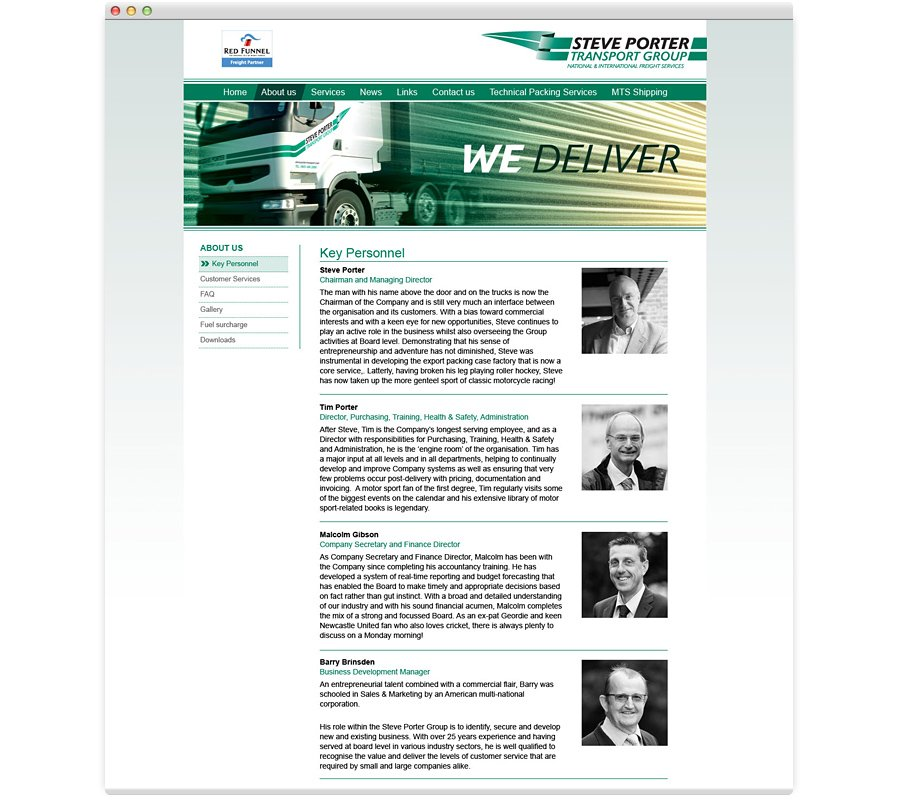 Steve Porter Transport Group Website Design we deliver
