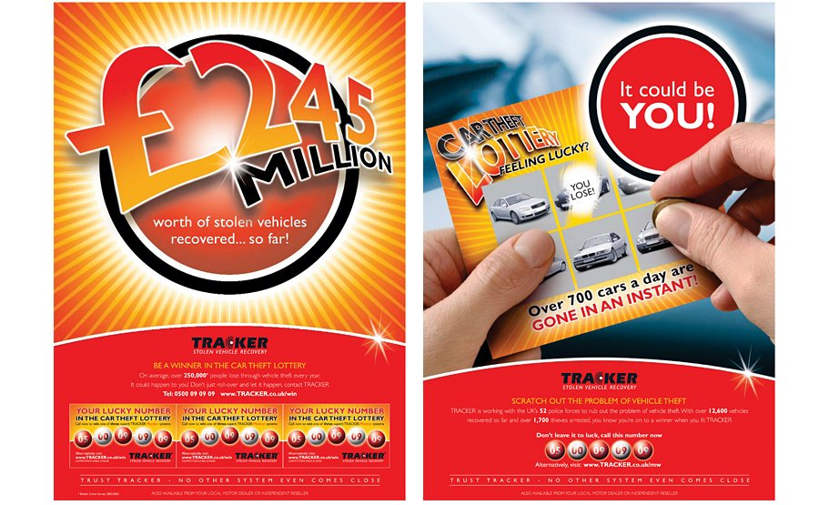 TRACKER Car Theft Lottery Advertising Campaign Washroom posters
