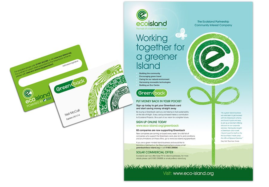 Ecoisland Press Adverts Greenback greener island pocket