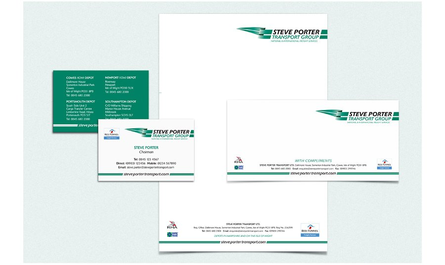 Steve Porter Transport stationery design